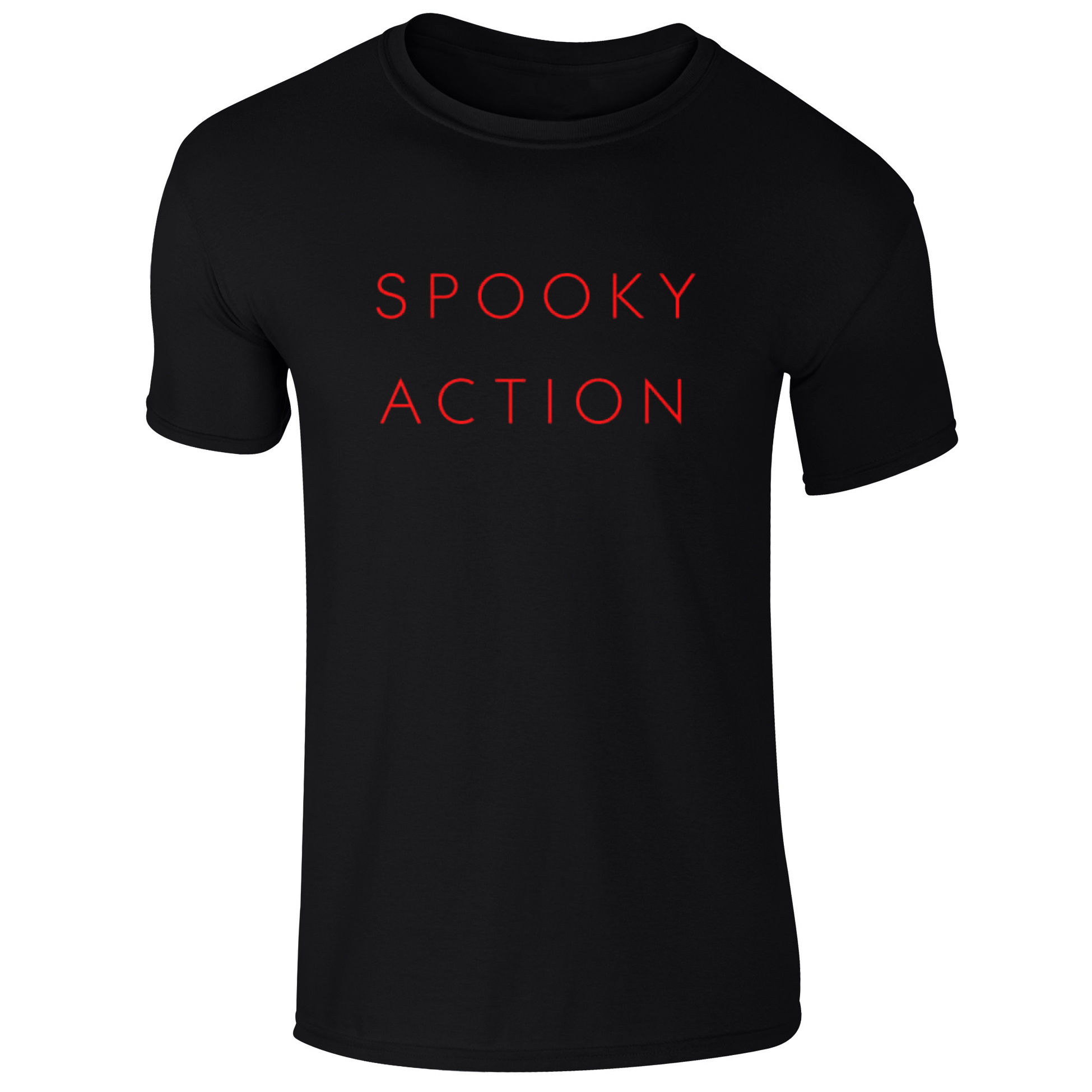 Black t shirt back and front plain - The Spooky Action T Shirt Features Features Red Lettering And A Plain Back